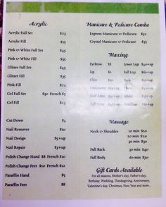 Price List For Nails Salon Ideas Pinterest Price List Salons And Nail Salons