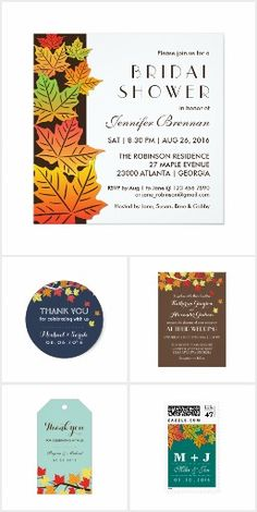BRIDAL SHOWER Fall Autumn Chic Colorful Leaves BRIDAL SHOWER SET> Get Your Stamps, Invitations, RSVP, Address Labels & More with one click! YOU CHOOSE~ Easy online ordering and customizing! ** Save 15% or more with site sales and coupon codes!  #bridalshower #wedding #fall #autumn #leaves