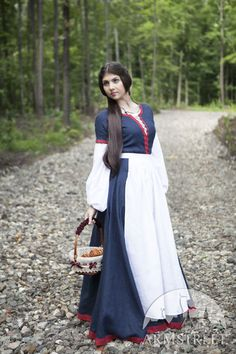 """""""Forget me not"""" fantasy flax linen dress and apron"""