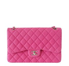 Have you seen our amazing Double Flap Jumbo Chanel Bag in Fuschia?!  #baghunter #chanel #fuschia #doubleflap #jumbo #designerbags #fashion #pink