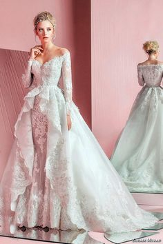 Sleeved Wedding Dress Zuhair Murad Long Sleeves Wedding Dresses 2016 With Overskirt Ball Gown Plus Size Wedding Gowns Off The Shoulders Bridal Gowns Tool Wedding Dress From Gonewithwind, $187.44| Dhgate.Com