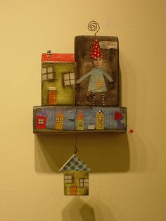 painting sculptural wall or free standing collage. idea on wooden hook board shelves attached or  on boards.. or  ????