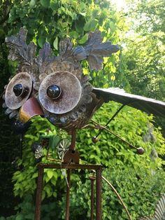 Tuinsteker uil   Windmolen & tuinsteker   Steeg80 moestuin enzo Wind Chimes, Owl, Bird, Outdoor Decor, Animals, Animales, Animaux, Owls, Birds