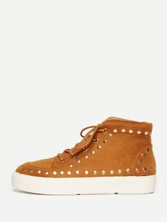 Shein Studded Detail Lace Up High Top Trainers