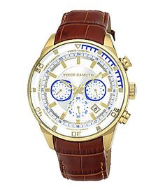 Vince Camuto Goldtone Croco Grain Leather Strap Mens Watch Dillards Awesome