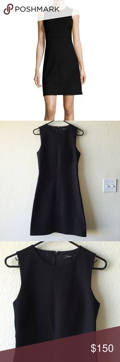 Theory Raneid nc Jetty fit and flare a line dress Gently used with no flaws. Theory Raneid NC Jetty a line fit and flare black sleeveless career dress size 4.  Measurements: Armpit-armpit ~17.5inches Length ~36.5inches Waist ~14.75inches Theory Dresses Mini