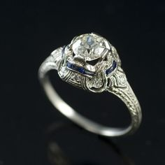 Vintage platinum diamond and sapphire engagement ring -AKA the ring that started it all