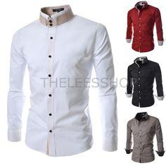 Herren Shirts Freizeithemden Stehkragen Kleid Button-Down-Kragen Baumwolle  DCH