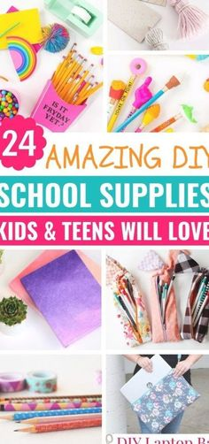 Diy Back To School Supplies, Diy Crafts For School, Crafts For Teens, Diy For Kids, Diy And Crafts, Diy Supplies, Diys For School, Children Crafts, Diy Stationary Projects