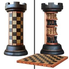 Rook Tower pack-away wooden chess board - crazy_inventions Woodworking Plans, Woodworking Projects, Woodworking Videos, Awesome Woodworking Ideas, Woodworking Inspiration, Woodworking Shop, Wooden Chess Board, Chess Boards, Toy Rooms