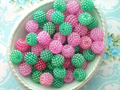 Vintage Pink and Green Berry Beads