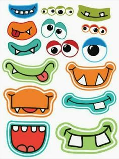 Halloween Printables Frebies pour Photo Booths - Welcome OyunRet Little Monster Party, Monster Birthday Parties, Cute Monsters, Little Monsters, Art For Kids, Crafts For Kids, Monster Crafts, Vinyl Sticker Sheets, Monster Face