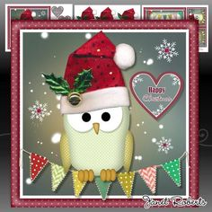 """Owl I Want for Christmas Mini Kit on Craftsuprint designed by Janet Roberts - This cute topper will fit on the front of a 8""""x 8"""" card blank but it can be made smaller in any graphic program. 3 A4 sheets of decoupage, choice of sentiments, matching insert and gift card - Now available for download!"""