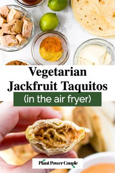 These crispy air fryer vegan taquitos are made with a meaty, flavorful jackfruit and refried beans filling with a quick dairy free queso sauce. This tasty vegetarian appetizer recipe is fun to make and is always a huge hit! Serve them with your favorite dips for a summer plant-based platter or for a date night in with margaritas. Or serve them with some rice and beans for a complete family dinner. #jackfruit #vegantaquitos #veganappetizer #airfryer #vegansnackideas Vegetarian Appetizers, Appetizer Recipes, Dairy Free Queso, Bloating After Eating, Vegan Tacos, Refried Beans, Vegan Dishes, Plant Based, Margaritas