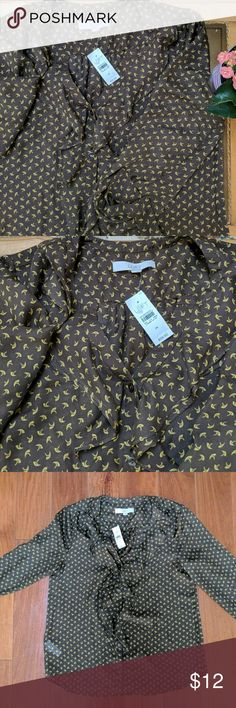 Loft Ruffle Blouse Brown ruffle shirt with yellow designs. Semi see through. Never worn. Offers welcomed. Ann Taylor Tops Blouses
