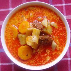 Ízes kalandok: Kolbászos zöldbab leves Cheeseburger Chowder, Thai Red Curry, Soup, Ethnic Recipes, Hungarian Recipes, Soups