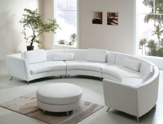 Comfortable Curved Sectional for Elegant Living Room Design: Leather Curved Sofa White Leather Sofas, Best Leather Sofa, White Sofas, White Ottoman, Black Leather, Bonded Leather, White Pillows, Round Couch, Round Sectional
