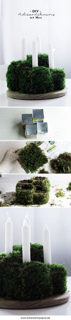 Christmas Decorating Botanical DIY decoration for Christmas: Advent wreath made of moss itself Christmas Advent Wreath, Holiday Wreaths, Christmas Diy, Christmas Decorations, Wreath Boxes, Paper Flower Wreaths, Diy Candle Holders, Christmas Makes, Centerpiece Decorations