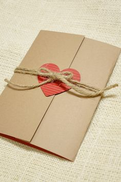 Rustic Wedding Invitation  Heart and Twine. Would be cute and easy to make- gold glitter heart though?