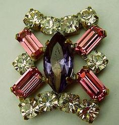 Vintage Glass Rhinestone Button Purple Marquise and Pink Baggettes