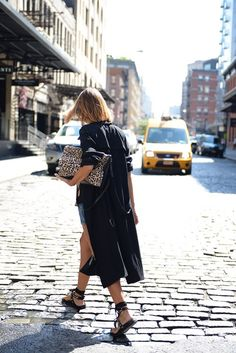 weekend // light black trench, shorts, sandals