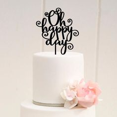 World of Sparkles 10cm Curly Happy Birthday Cake Toppers with Silver Diamante Rhinestones Diamonds with Rose Gold Base Birthday Party Decoration