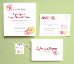 Wedding Invitation Suite - Watercolor Flowers by Leveret Paperie
