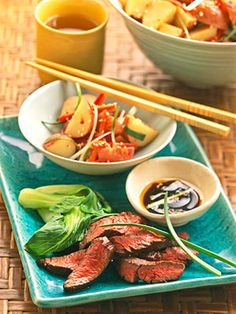 These skirt teaks need only a quick soak in the sesame-ginger marinade. Serve the grilled steak with a flavorful sauce made from the leftover marinade.