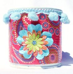 Decorative Colorful Upcycled Tin Can with by SulasCreations, €9.00