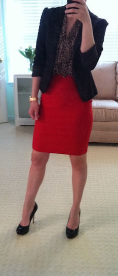 next time I try on a red skirt then wonder what to wear with it besides a white top!!!