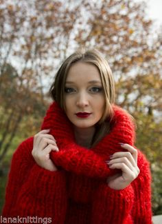 Red Chunky Longhair mohair sweater dress T-neck removable by LanaKnittings