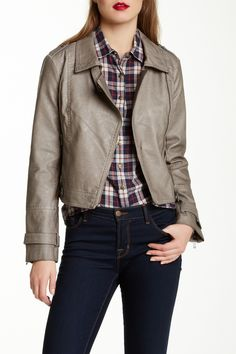 Faux Leather Motor Jacket by Blanc Noir on @nordstrom_rack