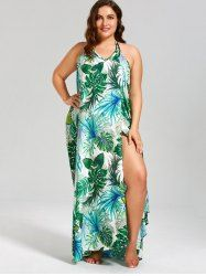 Palm Leaf Printed Plus Size Maxi Cover Up Dress - GREEN 5XL