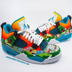 Rick and Morty Retro Jordan Customs made by _ Jordan Shoes Girls, Jordans Girls, Retro Jordans, Custom Painted Shoes, Custom Shoes, Nike Air Shoes, Sneakers Nike, La Gear Sneakers, Rick And Morty