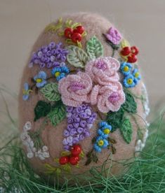 Handmade Needle Felted Beige Egg Easter Artist Spring Decorative Flower Wool 3in