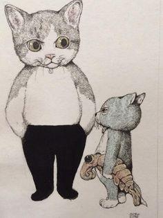 Vampire Illustration, Cute Animal Illustration, Japanese Illustration, Illustration Art, Crazy Cat Lady, Crazy Cats, Japanese Cat, Old Cats, Dog Cat