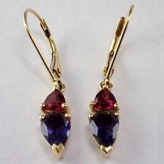 14k Yellow Gold Garnet and Iolite Earrings