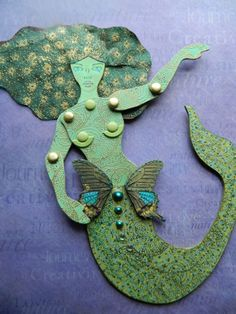 Rubber stamps and doll template from The Enchanted Gallery. This beautifully stamped and paper cut Mermaid paper Doll Unique Articulated Art Doll by JuliaPeculiar Her etsy - https://www.etsy.com/shop/JuliaPeculiar Stamps and template at www.TheEnchantedGallery.com