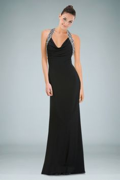 Fashionable Halter Column Evening Gown Featuring Beaded Accents and Backless Design