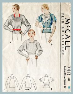 1930s art deco blouse with uniquely cut raglan sleeves, several style variations within the pattern.  Size 18 Bust 36 Waist 30 Hips 39  ★ ★ ★