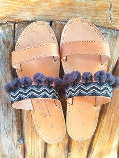Greek leather sandals embellished with black chevron trim with