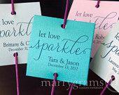 Sparkler Tags Let Love Sparkle Wedding Favor Tags by marrygrams