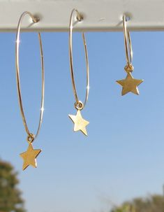 Star Earrings Star Hoop Earrings Hoop Star Earrings by ZmirArts