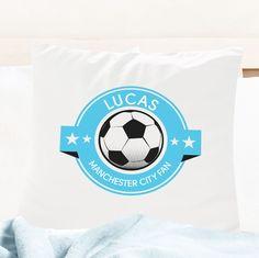 Personalised Skye Blue Football Fan Cushion Cover