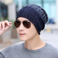 Color block knit beanie hat for men warm fleece winter hats Mens Knit Beanie, Beanie Hats, Ski Wear, Hat For Man, Knitted Hats, Winter Hats, Warm, Knitting, Color