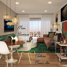 A combinação da cadeira Eames DSW, com a mesa Saarinen, já é um clássico em decoração de salas de jantar contemporâneas (Foto: 3D por Camilla Iampolsky)