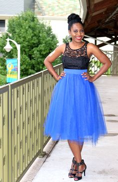 Blue Midi Tulle Skirt - What I Wore To The Black Weblog Awards - VeePeeJay