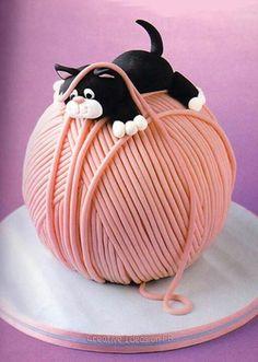 New Birthday Cake Cat Yarn Ball Ideas Birthday Cake For Cat, Adult Birthday Cakes, Birthday Cakes For Women, Birthday Diy, Creative Cake Decorating, Birthday Cake Decorating, Creative Cakes, Beautiful Cakes, Amazing Cakes
