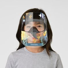 Underwater Tropical Reef Scuba Dive Fish Name Kids' Face Shield - tap, personalize, buy right now! #KidsFaceShield #afflink #covid #name #underwater #scuba Clear Face, Eye Frames, Tropical Style, Plastic Animals, White Ink, Health And Safety, Mask For Kids, Scuba Diving, Perfect Match