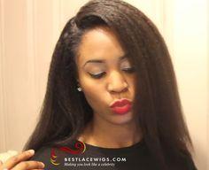 Virgin Brazilian Hair Glueless Full Lace Wigs Kinky Straight Hair